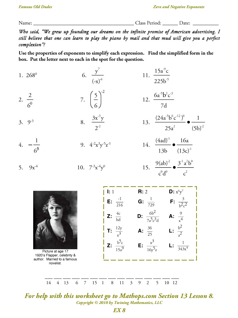 Exponents Worksheets Doc: worksheet  Exponent Properties Worksheet  joindesignseattle    ,